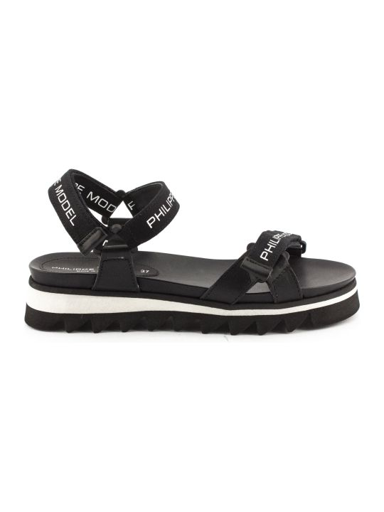 Philippe Model Black Leather And Fabric Sandals