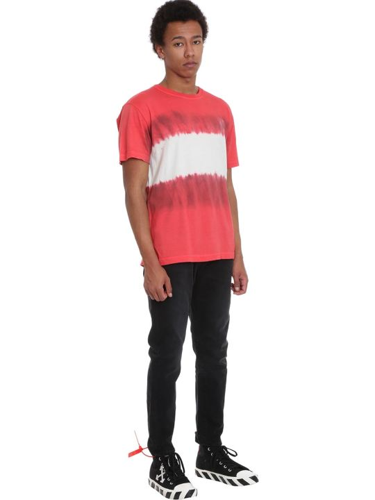 Off-White Arrow Tie Dye T-shirt In Red Cotton