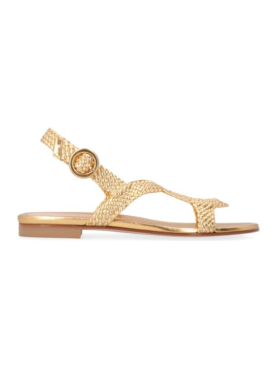 Stuart Weitzman Teodora Metallic Leather Sandals