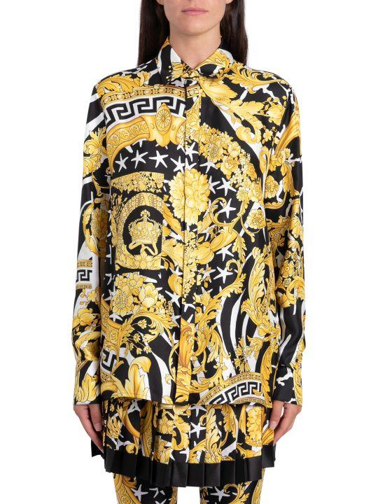 Versace Camicia In Seta Stampa Savage Barocco Dorato