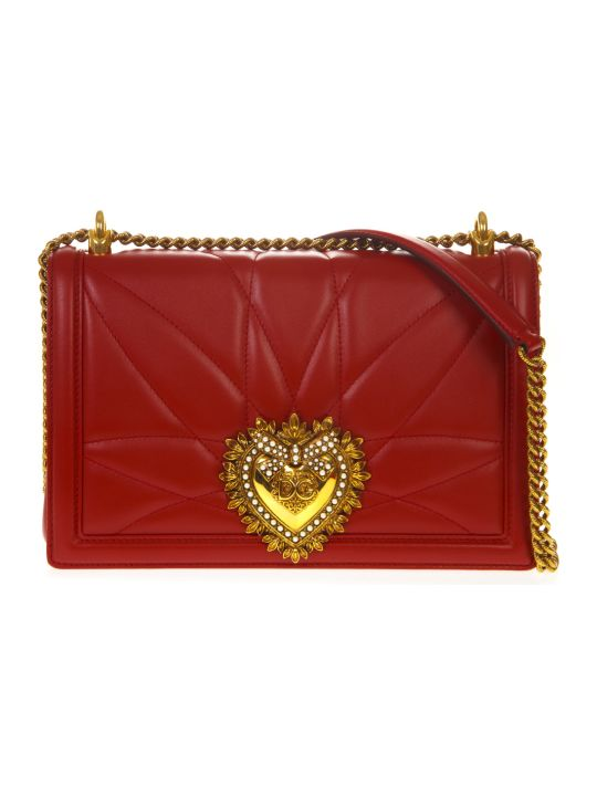 Dolce & Gabbana Red Large Devotion Bag In Quilted Nappa Leather