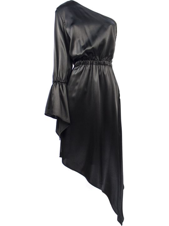 Federica Tosi Black Silk One-shoulder Dress