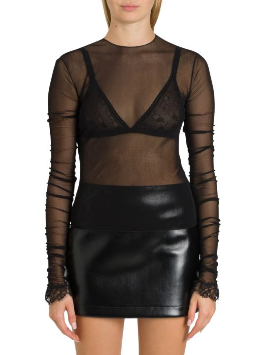 Philosophy di Lorenzo Serafini Tulle Top With Lace To The Sleeve Edge