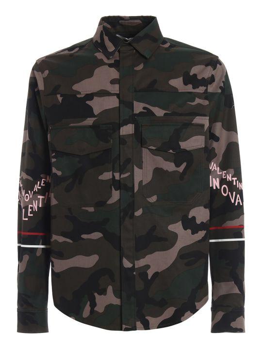 Valentino Logo Print Camouflage Jacket