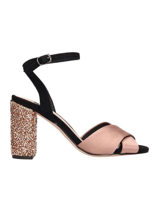 Bibi Lou Champagne Black Satin Sandals