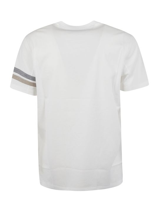 Brunello Cucinelli Striped Sleeve Round Neck T-shirt