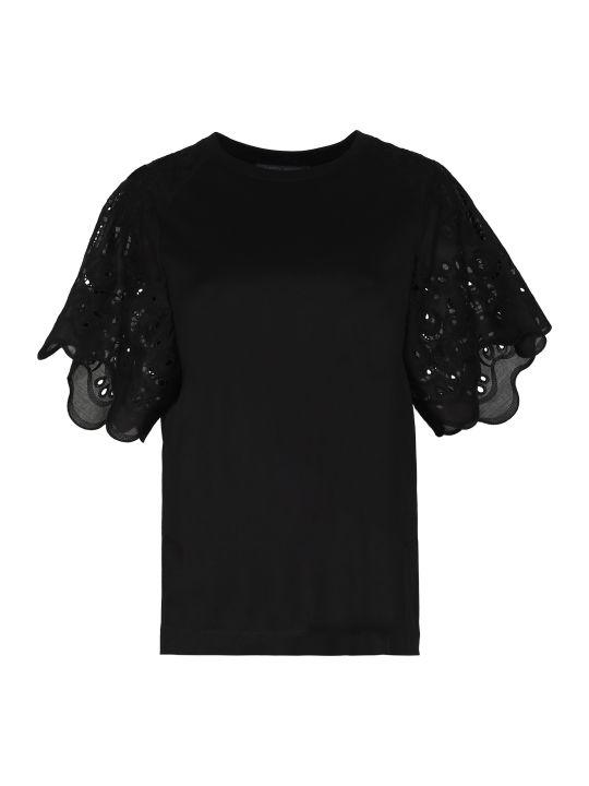 Alberta Ferretti Broderie Anglaise Sleeve T-shirt