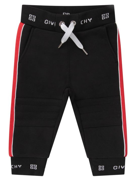 Givenchy Black Babykids Pants With White Logo