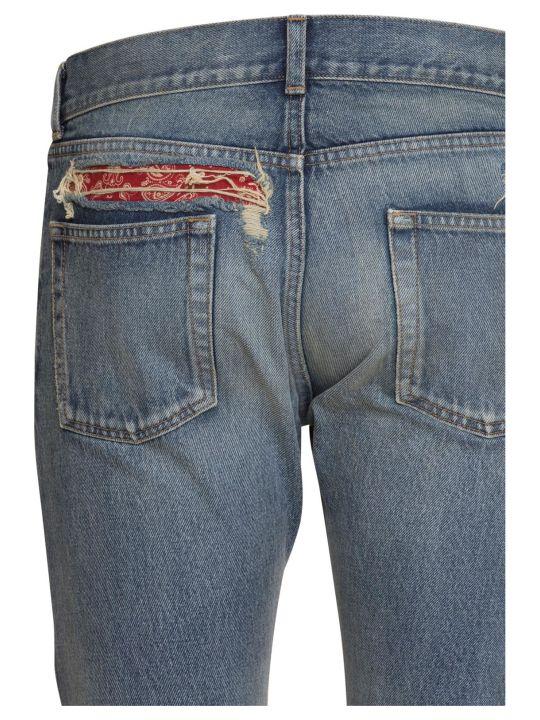 df889de695 Saint Laurent Bandana Raw Edge Slim Jeans In Dirty Green Blue Denim