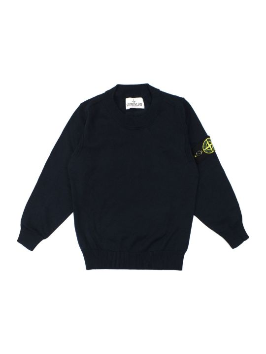 Stone Island Blue Cotton Sweater