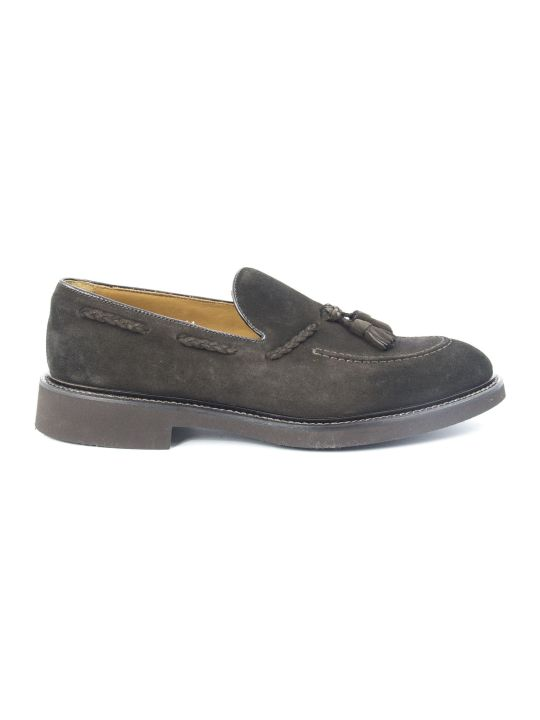 Doucal's Brown Tassel Suede Loafer