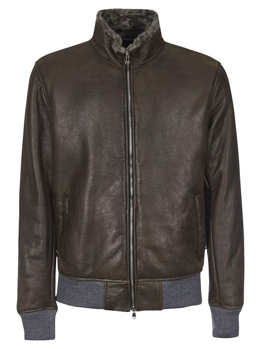 Barba Napoli Fur Trim Leather Jacket