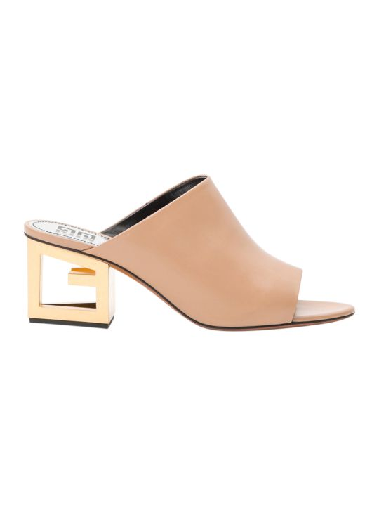 Givenchy Gold G Heel Mules