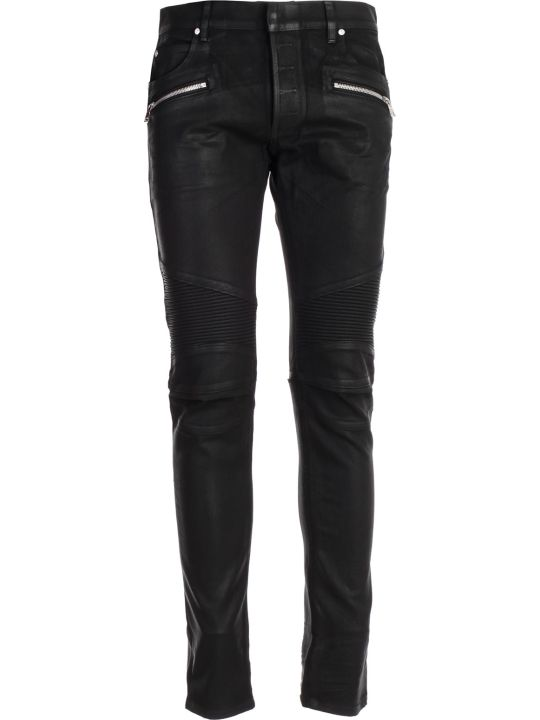 Balmain Zipped Detail Biker Jeans