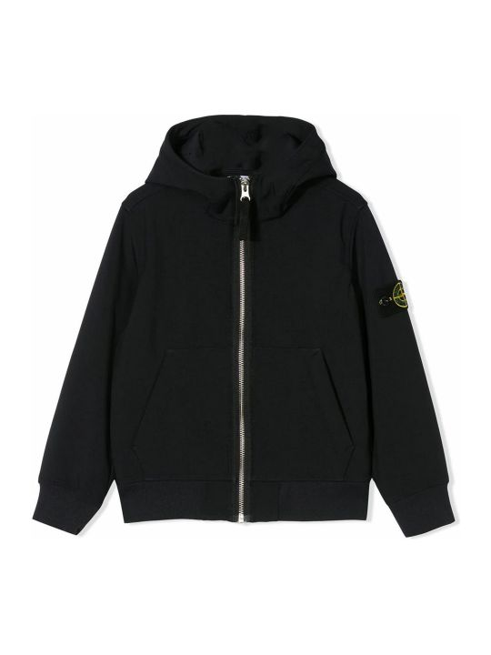 Stone Island Navy Logo Hooded Jacket
