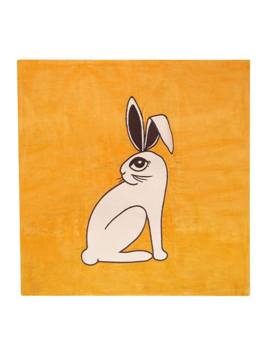 Mini Rodini Ocher Cushion Cover With Rabbit