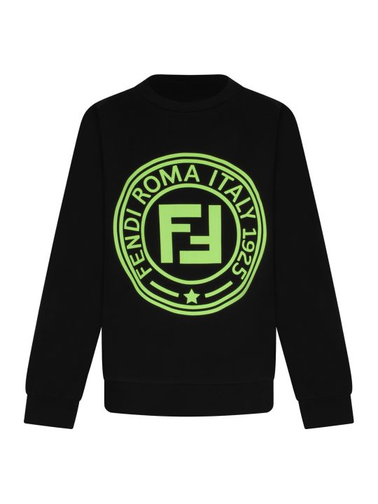 Fendi Black Girl Sweatshirt With Neon Fuchsia Logo