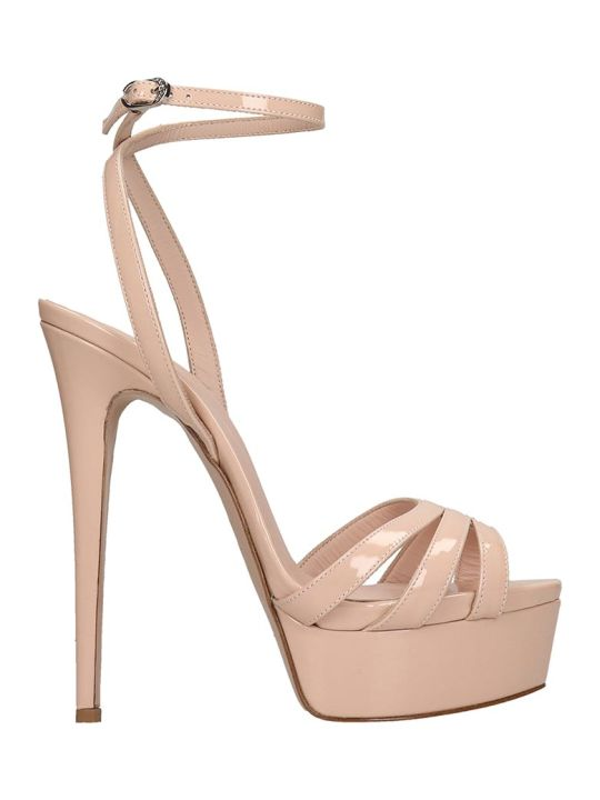 Le Silla Sandals In Powder Patent Leather