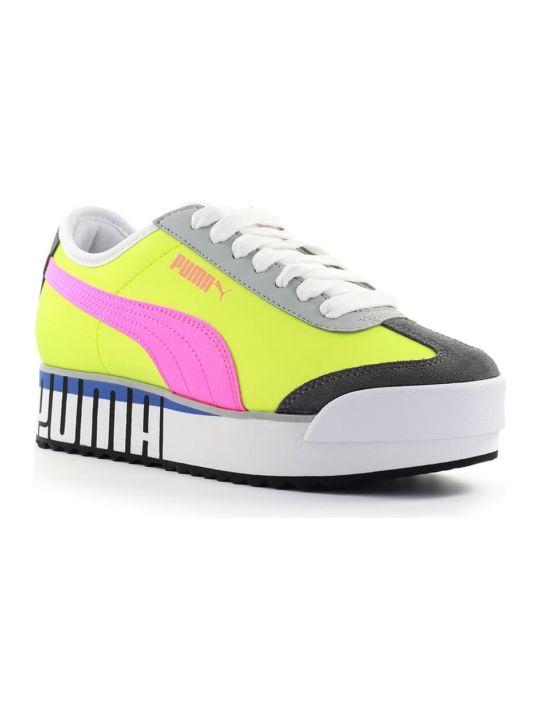 Puma Yellow Fluo Pink Logo Roma Amor Sneaker