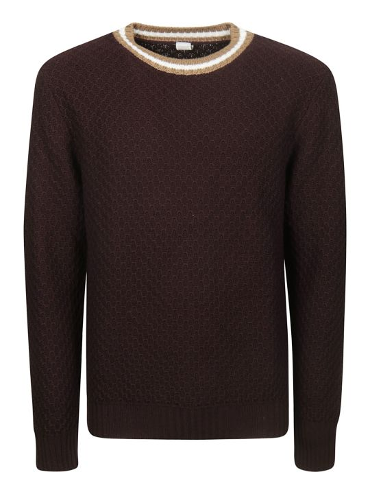 Eleventy Striped Trim Sweater