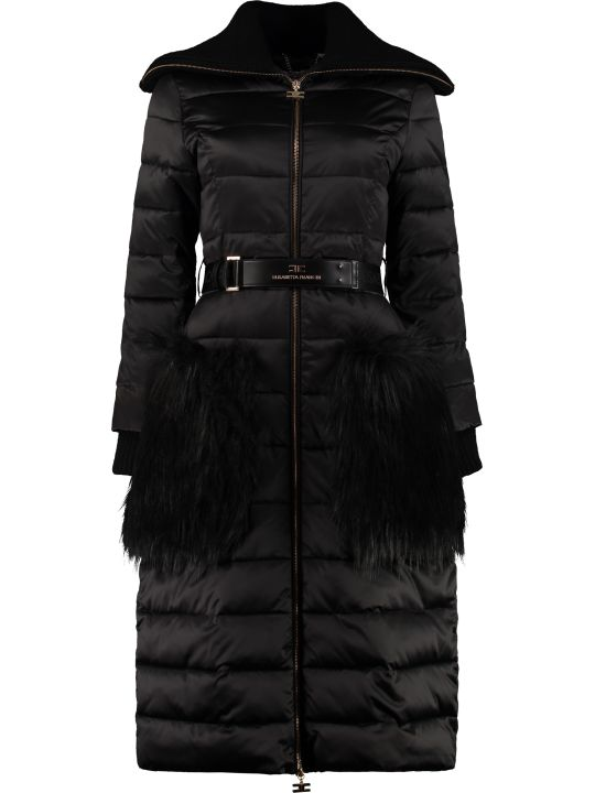 Elisabetta Franchi Celyn B. Long Padded Jacket With Belt