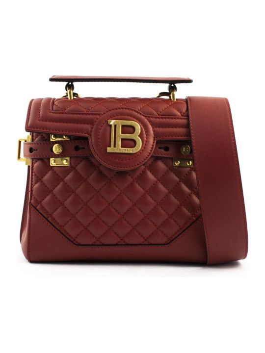 Balmain Red Lambskin Leather B-buzz 23 Bag