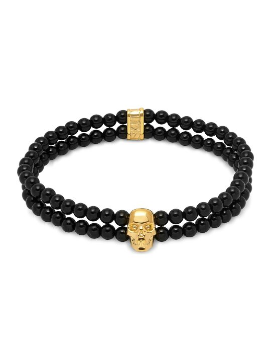 Northskull Double Row Beaded Bracelet With Skull Charmin Black Onyx & Gold