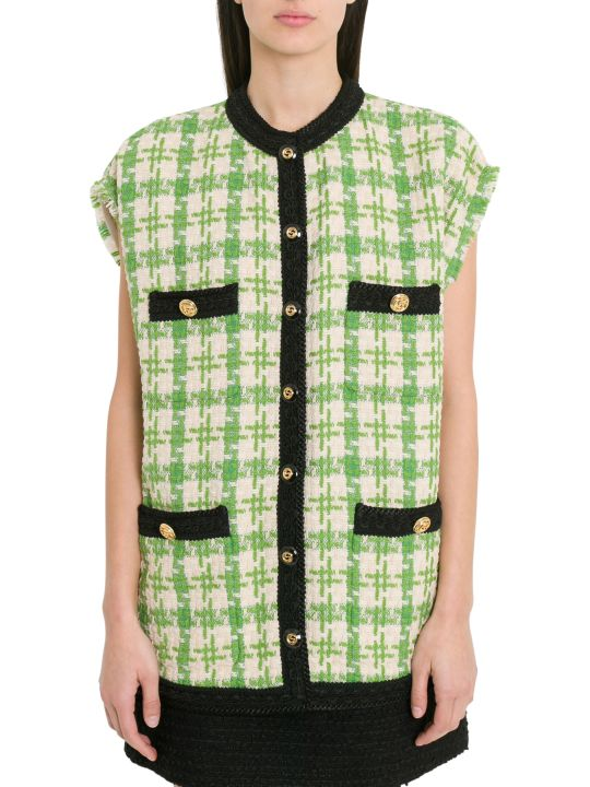 Gucci Houndstooth Sleeveless Vest With Ribbon Trim