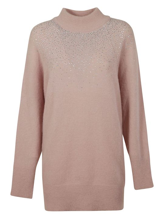 Blumarine Crystal Embellished Oversize Sweater
