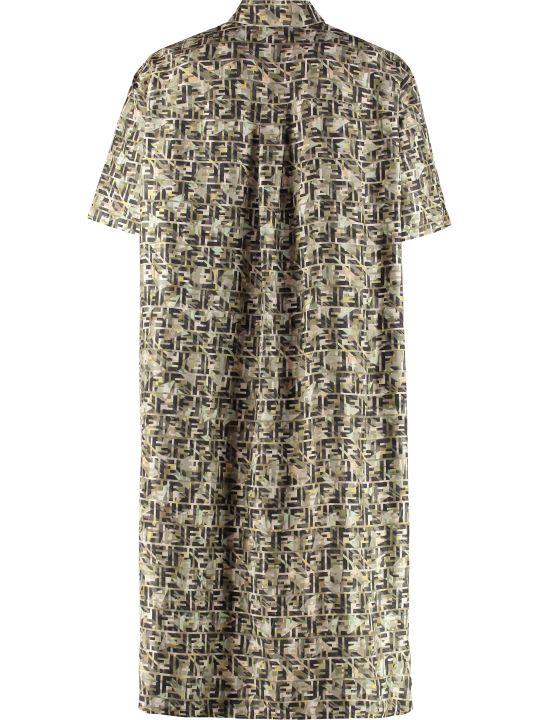 Fendi Long Printed Silk Shirt