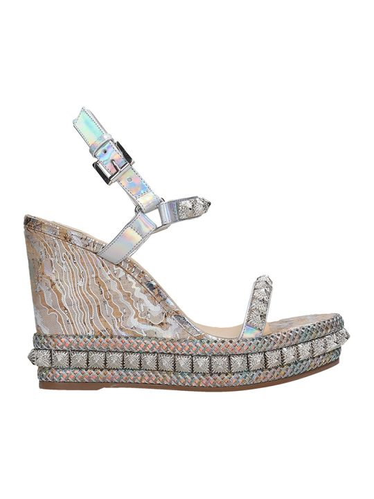 Christian Louboutin Pira Ryad 110 Wedges In Silver Leather