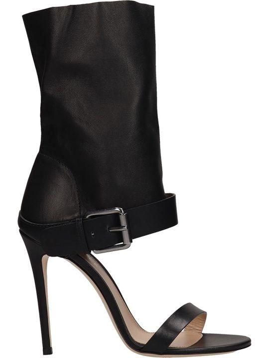 Dei Mille Black Leather Sandals