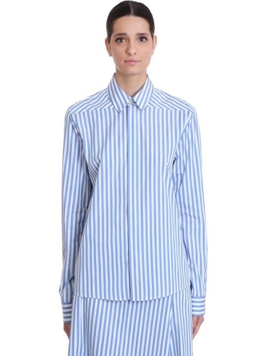 Jil Sander Moia Shirt In Cyan Cotton