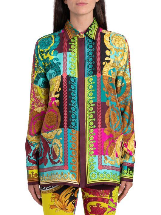 Versace Camicia In Seta Stampa Voyage Barocco