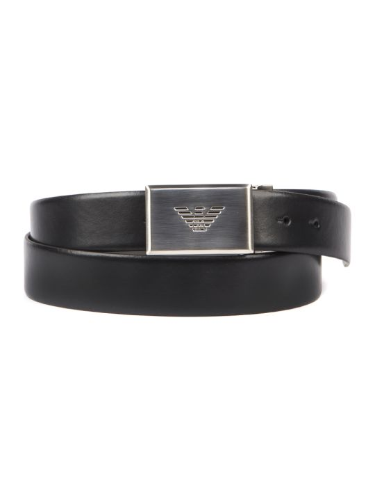 Emporio Armani Black Leather Eagle Belt