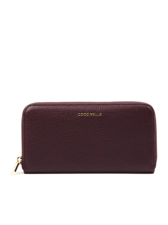 Coccinelle Metallic Soft Plum Leather Wallet