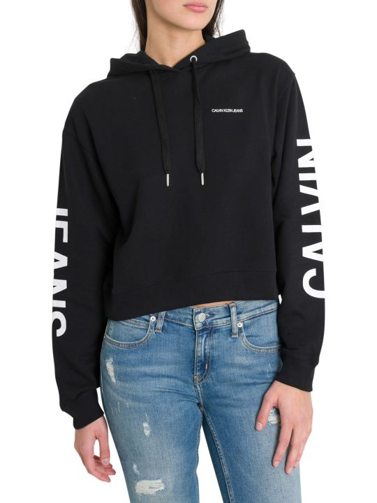 Calvin Klein Jeans Cropped Hoodie With Institutional Logo