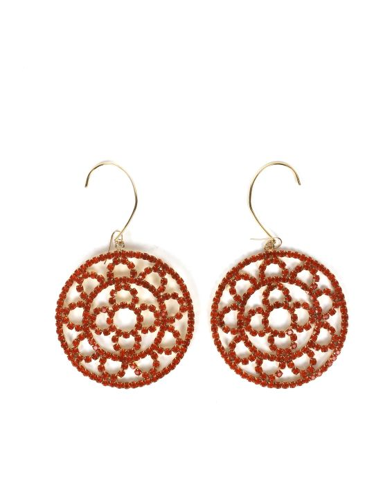 AREA Orange Crystal Crochet Earrings