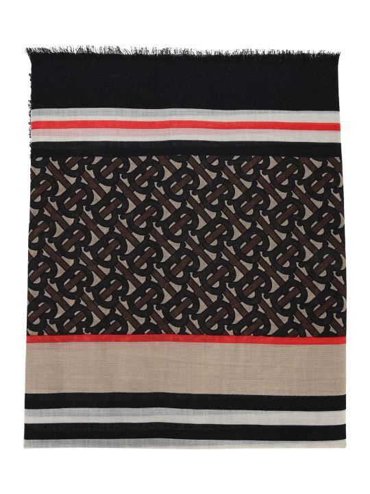 Burberry London Icon Stripe Monogram Print Wool Silk Scarf