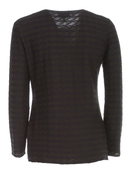 Emporio Armani Sweater 3/4s Boat Neck W/horizontal Lozenges