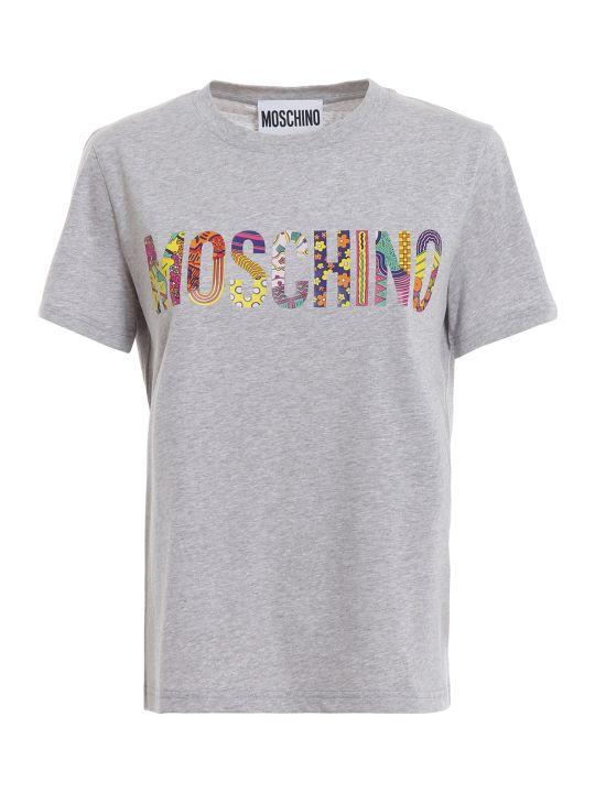 Moschino Patterned Logo Print Grey T-shirt 07130540a8485