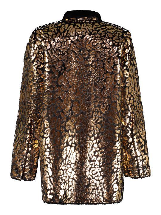 Mes Demoiselles Printed Faux Fur Coat