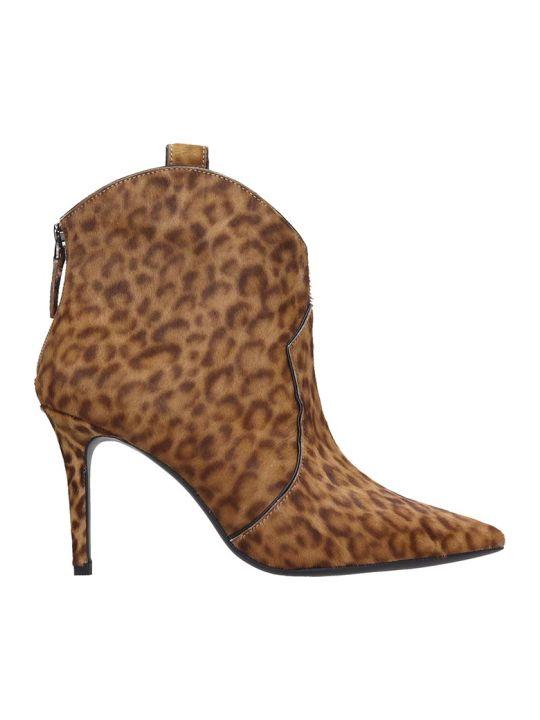 Lola Cruz High Heels Ankle Boots In Animalier Pony Skin