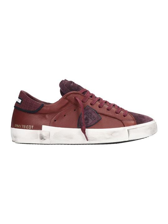 Philippe Model Prsx Sneakers In Bordeaux Leather