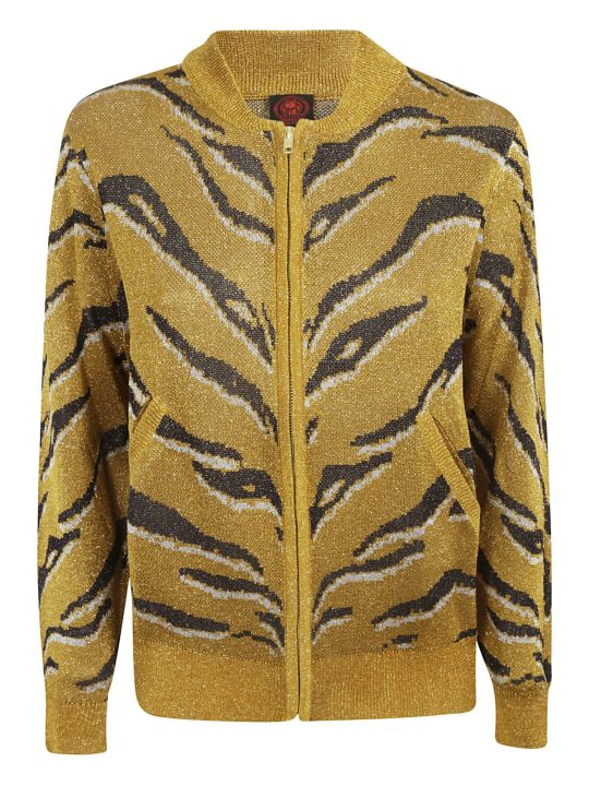 Happy Sheep Animal Skin Print Zipped Cardigan