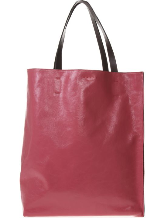 Marni Large Museo Soft Bag In Shiny Strawberry Leather