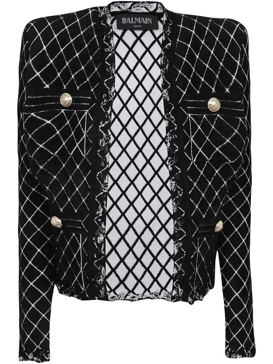 Balmain Distressed Diamond Velvet Jacket