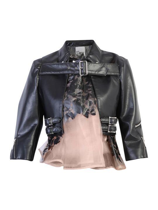 Noir Kei Ninomiya Tulle Insert Faux Leather Jacket