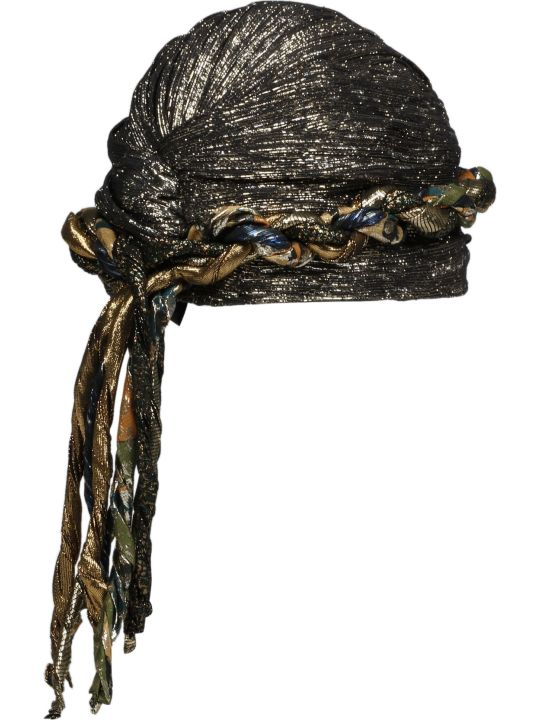 Saint Laurent Lame` Silk Turban With Fringes