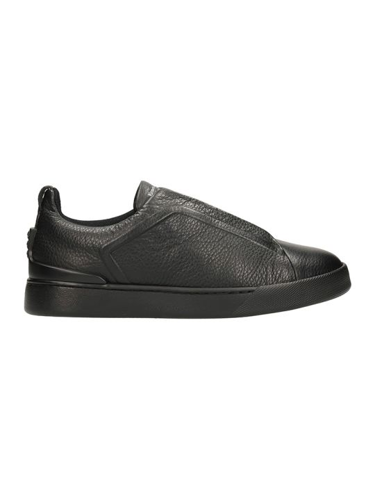 Ermenegildo Zegna Slip On Triple Stick Black Leather Sneakers